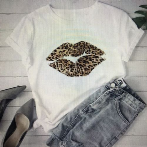 Animal print kiss t-shirt - white